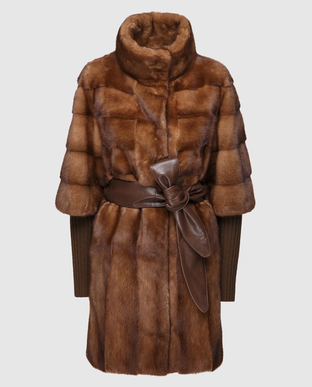 Florence Mode Коричневая шуба из меха норки с поясом и митенками изображение 1