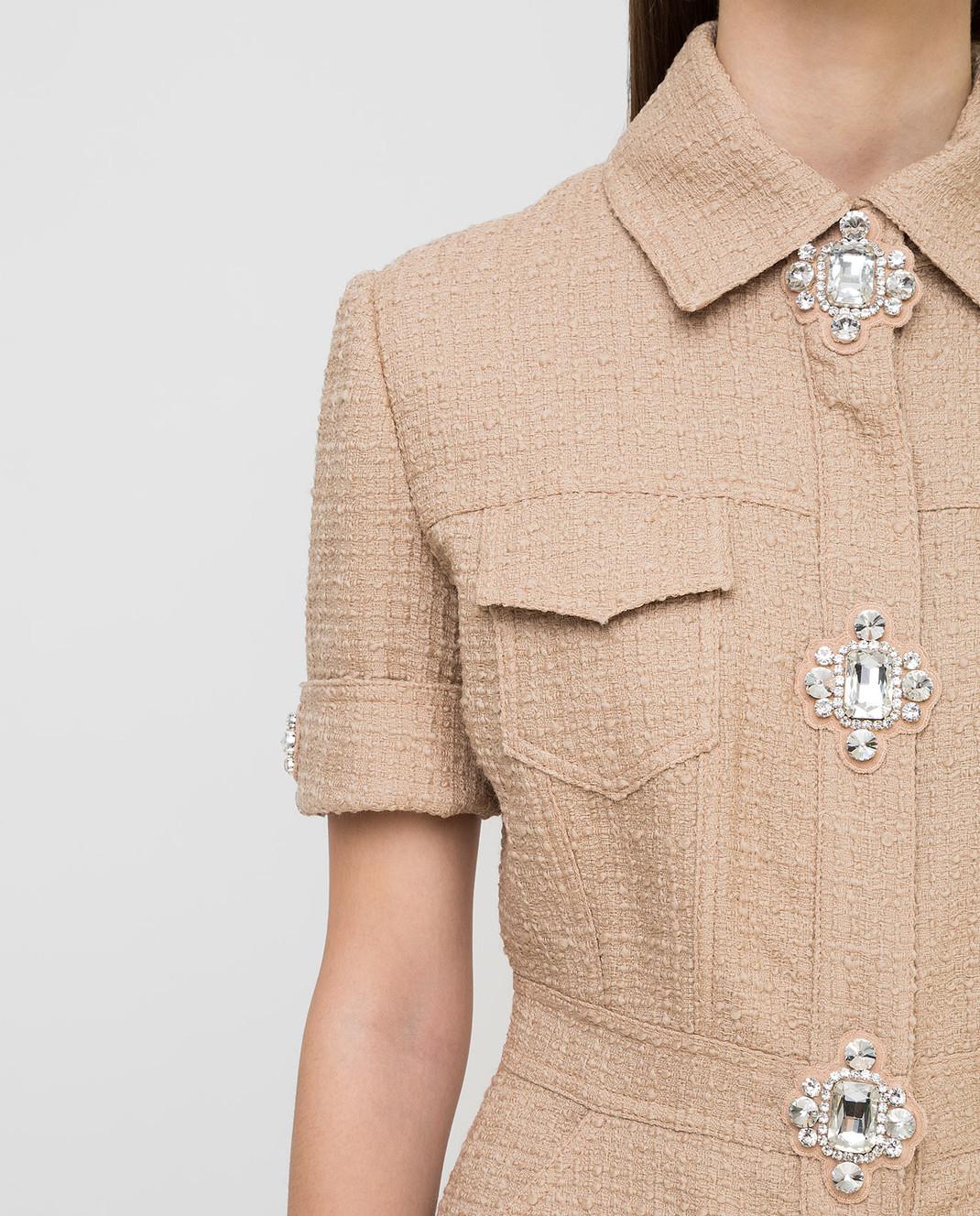 David Koma Бежевое платье из шерсти с кристаллами изображение 5