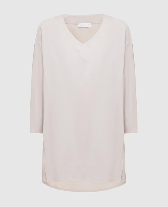 Светло-серая блуза из шелка