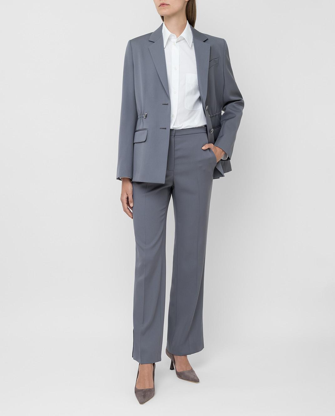 NINA RICCI Серые брюки из шерсти изображение 2
