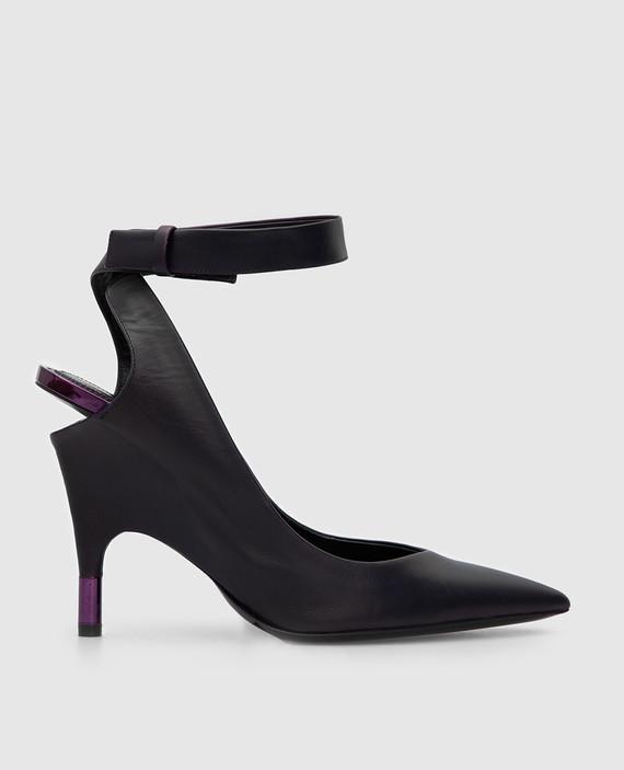 Фиолетовые кожаные туфли