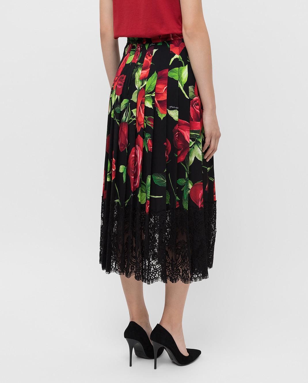 Dolce&Gabbana Черная юбка из шелка F4BFTTFSAY1 изображение 4