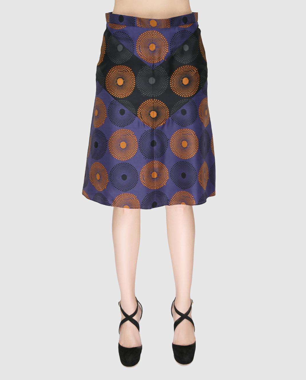 NINA RICCI Синяя юбка из шелка 17PCJU008SE1249 изображение 3