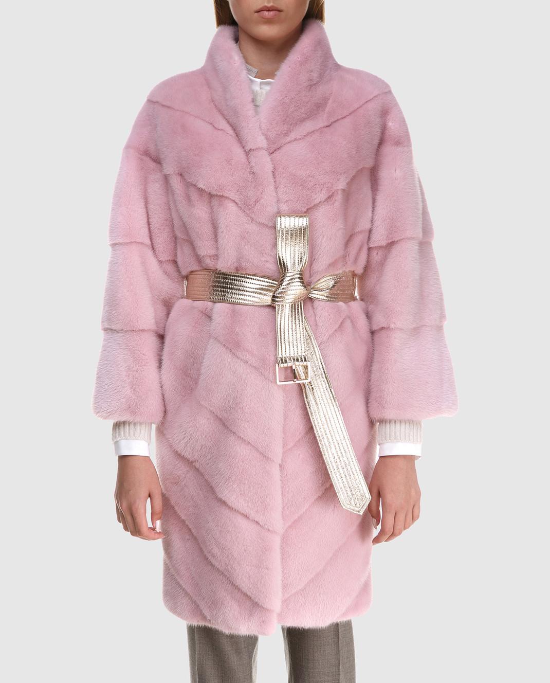 Florence Mode Розовая шуба из меха норки с поясом 18N139WHITE изображение 3
