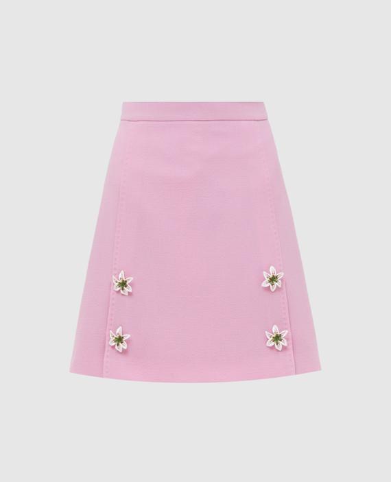 Розовая юбка из шерсти