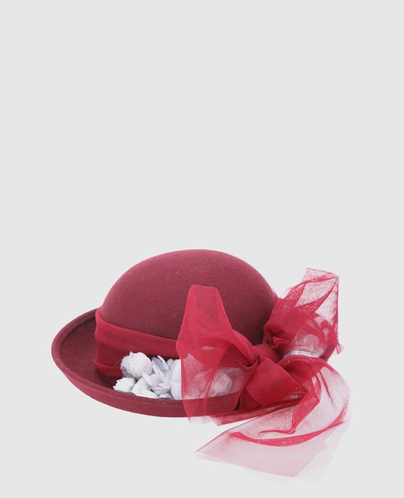 Детская бордовая шляпа hover