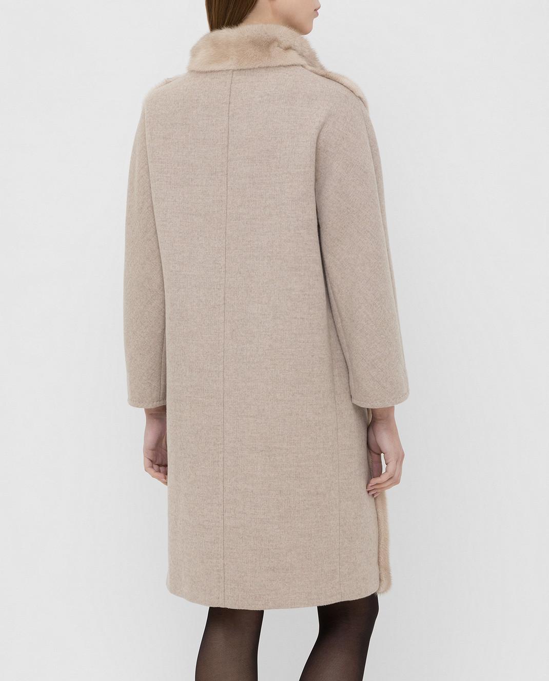 Giuliana Teso Бежевое пальто из шерсти с мехом норки 74QS285T072 изображение 4