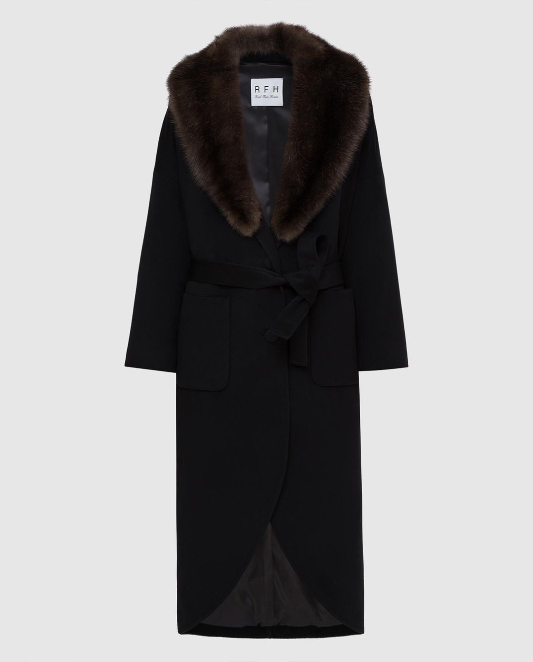 Real Furs House Черное пальто из кашемира с мехом соболя GT02