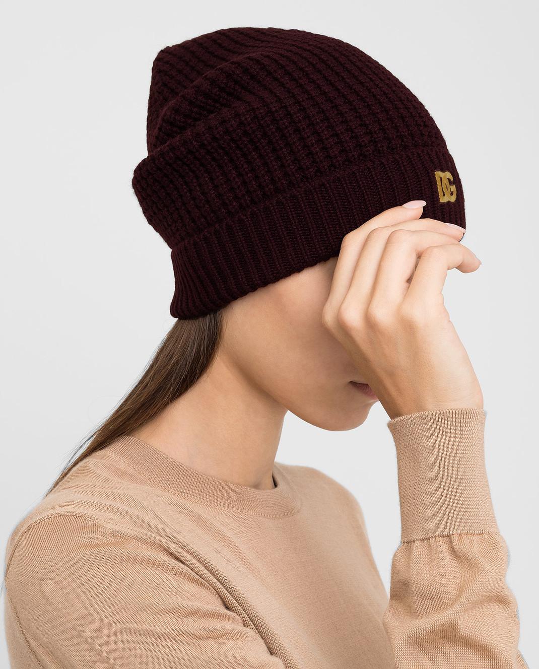 Dolce&Gabbana Бордовая шапка из кашемира изображение 2