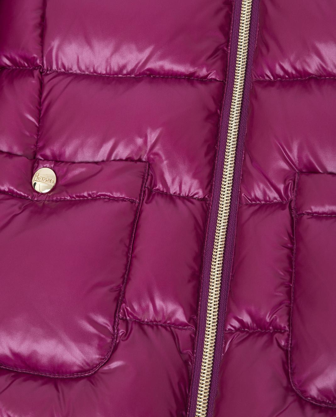 Herno Детский фиолетовый пуховик с мехом енота PI0048G48 изображение 3