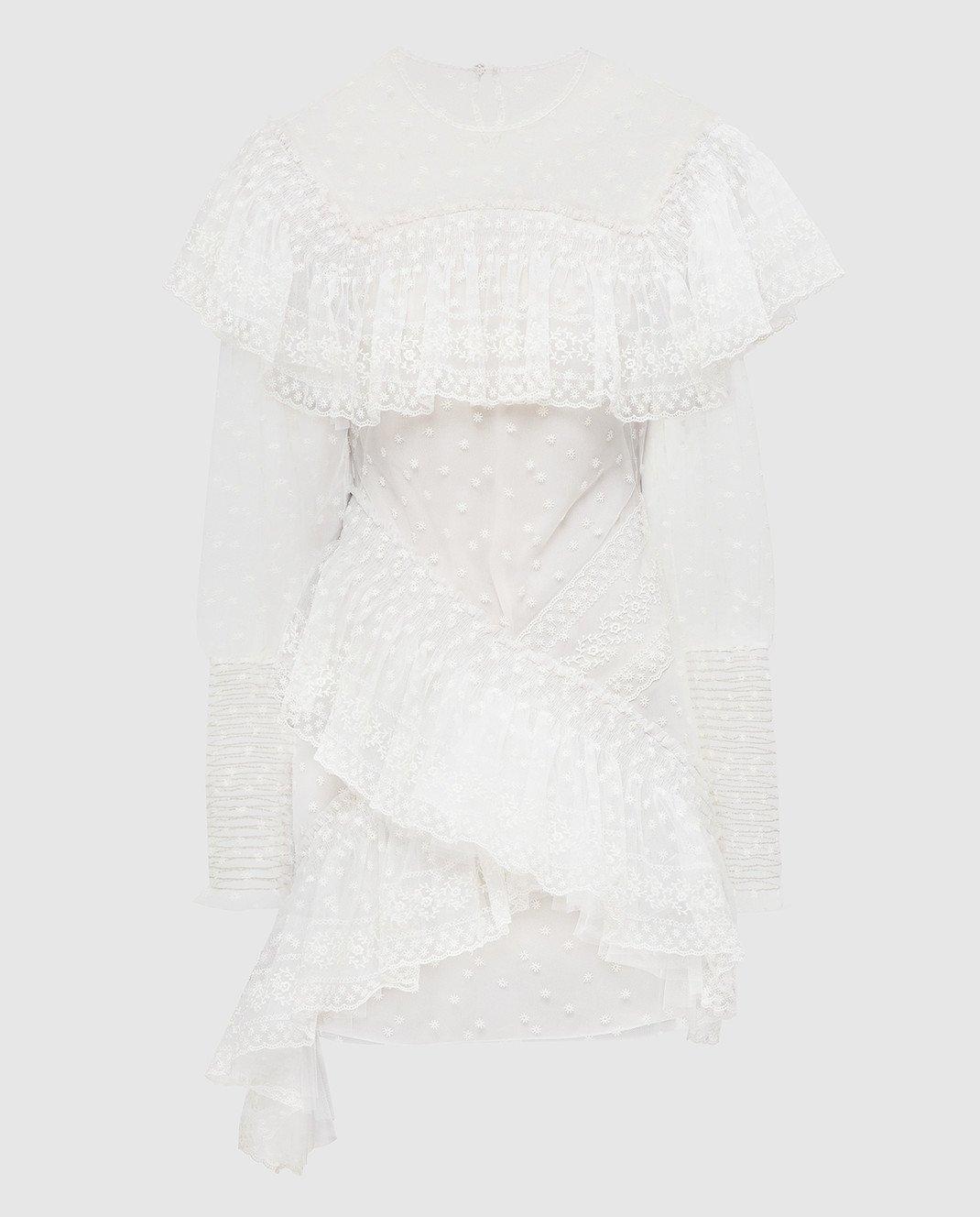 Philosophy di Lorenzo Serafini Белое платье с кружевом A0469