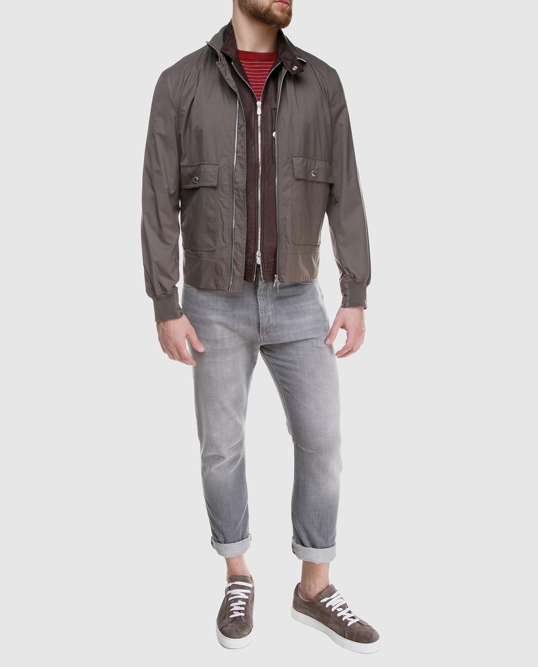 Brunello Cucinelli Коричневый кожаный жилет изображение 2