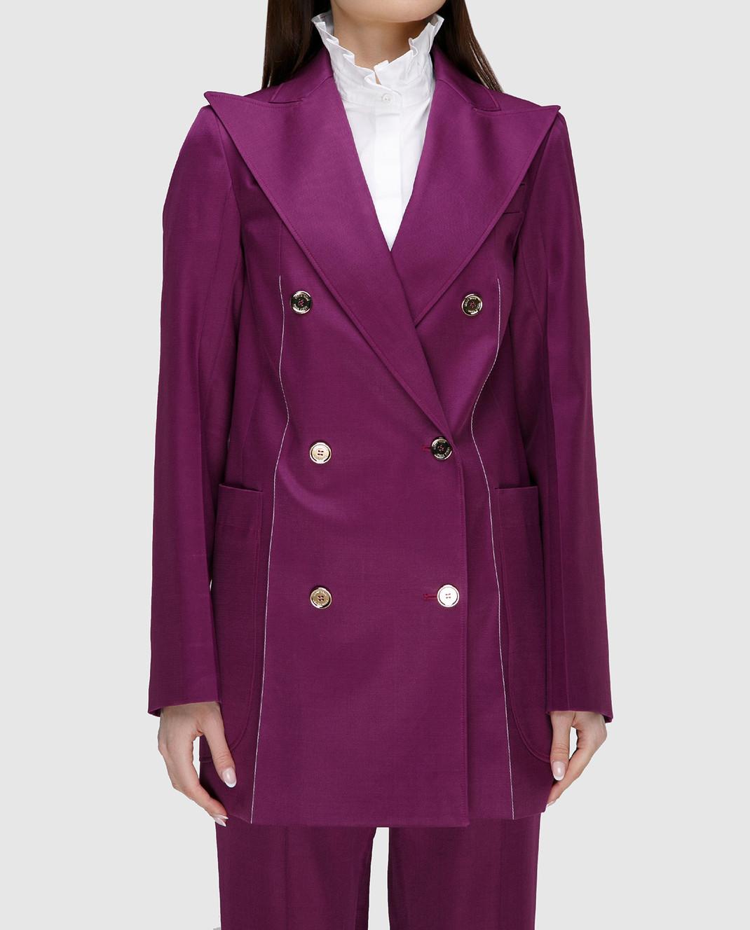 NINA RICCI Фиолетовый жакет из шерсти и шелка 17ECVE017WV0212 изображение 3