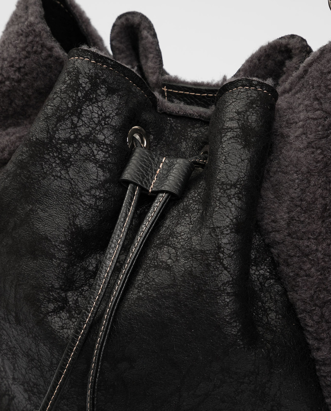 Gianni Notaro Черная сумка из кожи и меха изображение 4