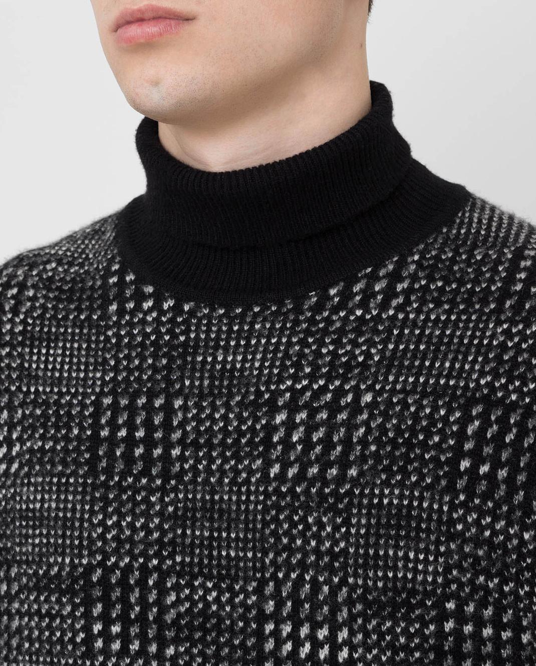 Ermenegildo Zegna Черный свитер из кашемира и шелка URH85120 изображение 5