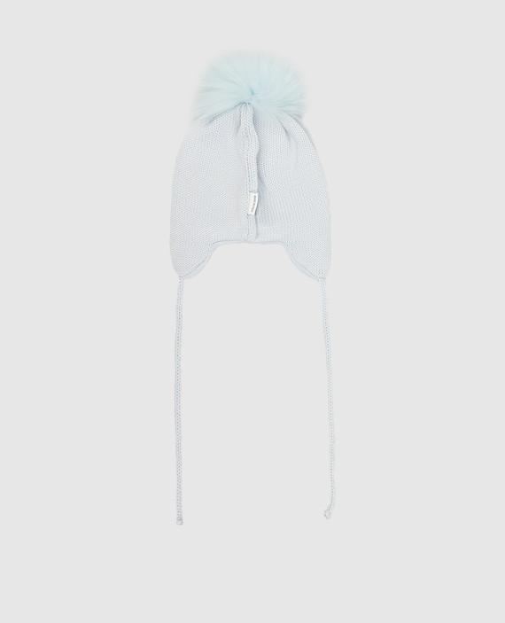 Детская голубая шапка из шерсти hover