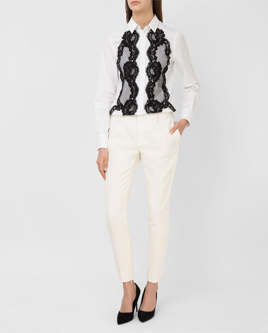 Saint Laurent Светло-бежевые брюки из шерсти 516111 изображение 2