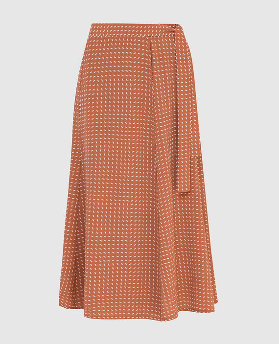 Светло-коричневая юбка из шелка