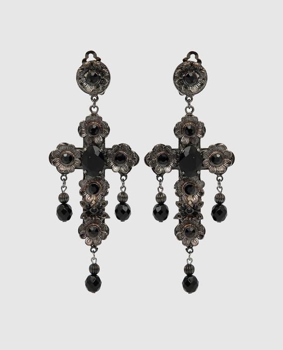 Черные клипсы с кристаллами