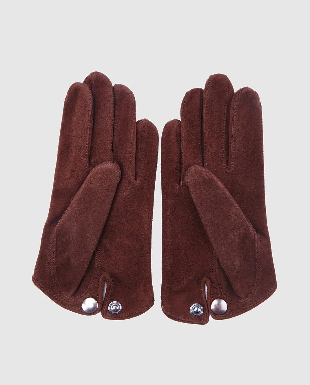 Maison Fabre Коричневые замшевые перчатки SASHASVELOURS изображение 4