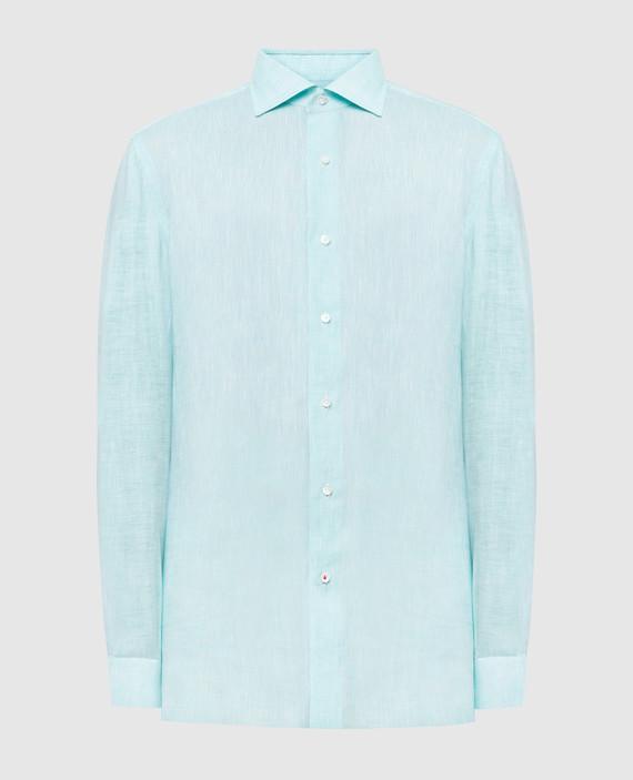 Светло-бирюзовая рубашка из льна