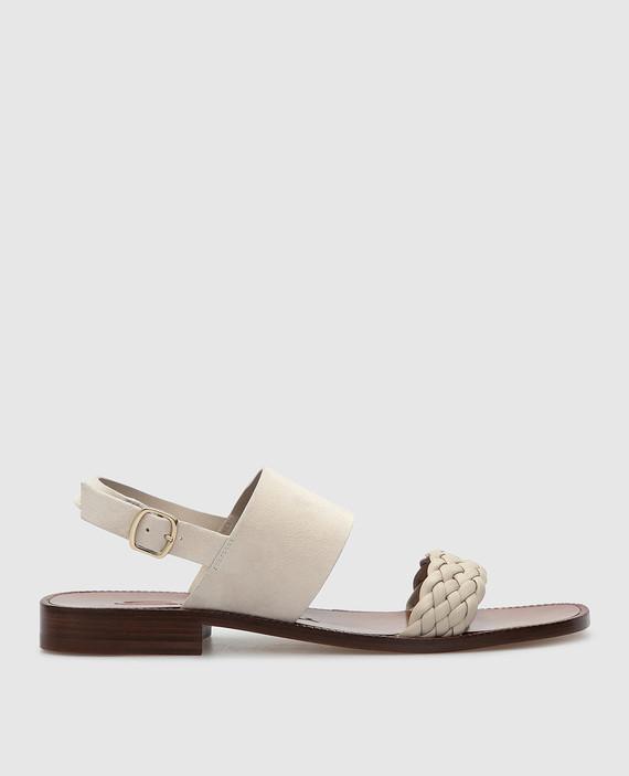 Светло-бежевые замшевые сандалии
