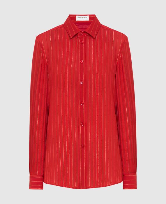 Красная блуза из шелка