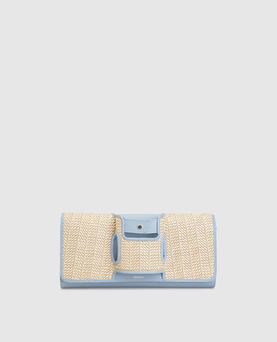 Голубой кожаный клатч La Capitale