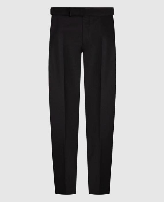Черные брюки из мохера, шелка и шерсти