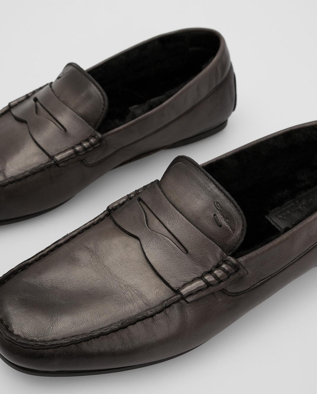Santoni Темно-серые кожаные мокасины изображение 5