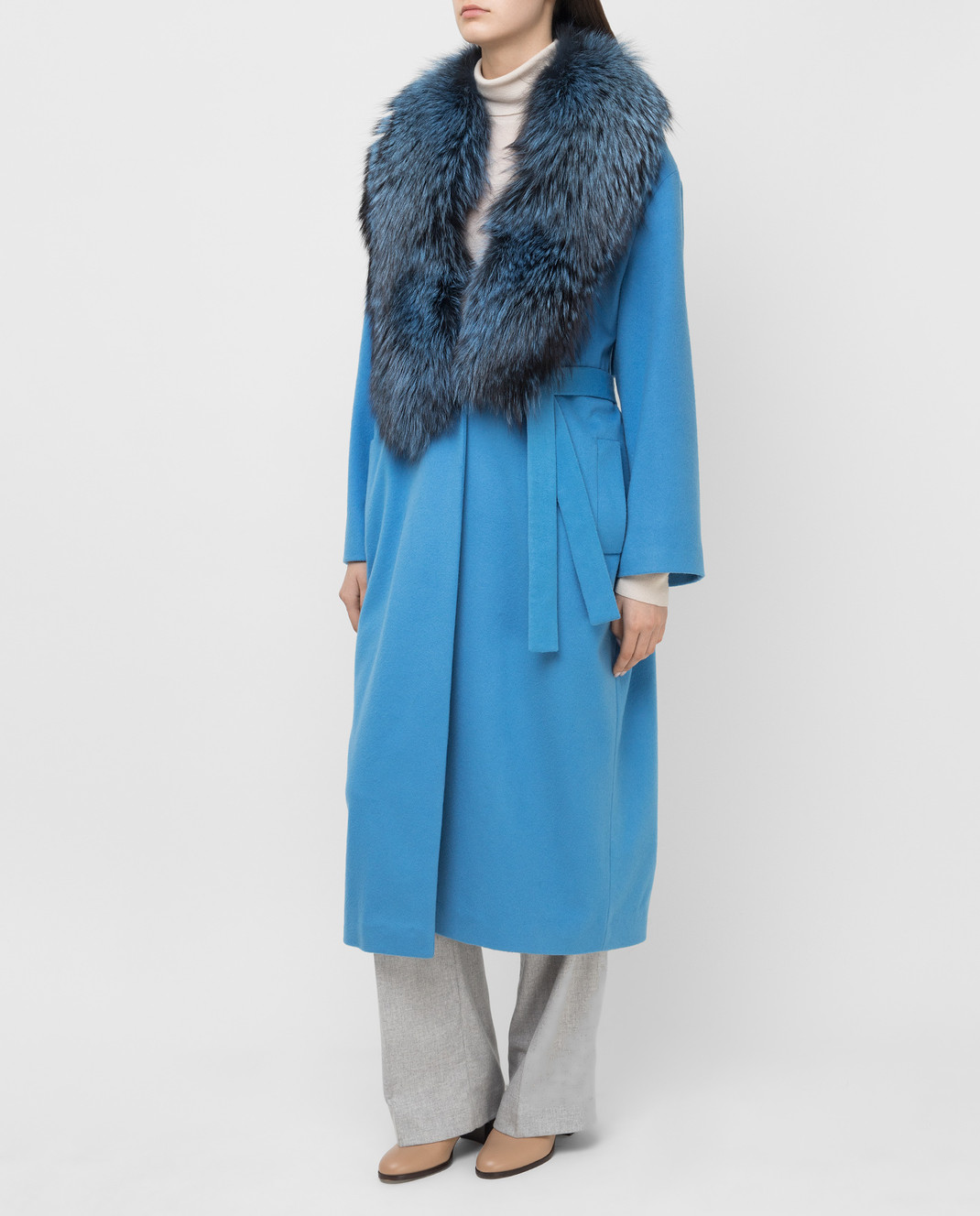 Via Cappella Голубое пальто из кашемира с мехом лисы C171418CASHMIR изображение 3