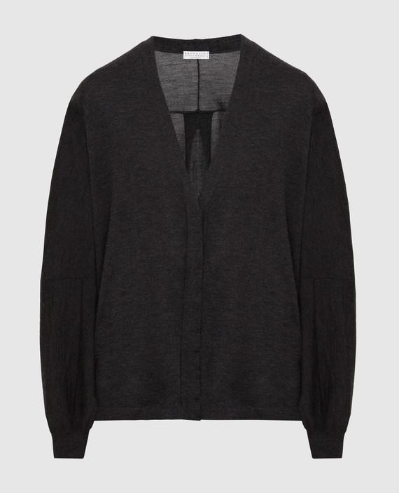 Темно-серый кардиган из кашемира и шелка