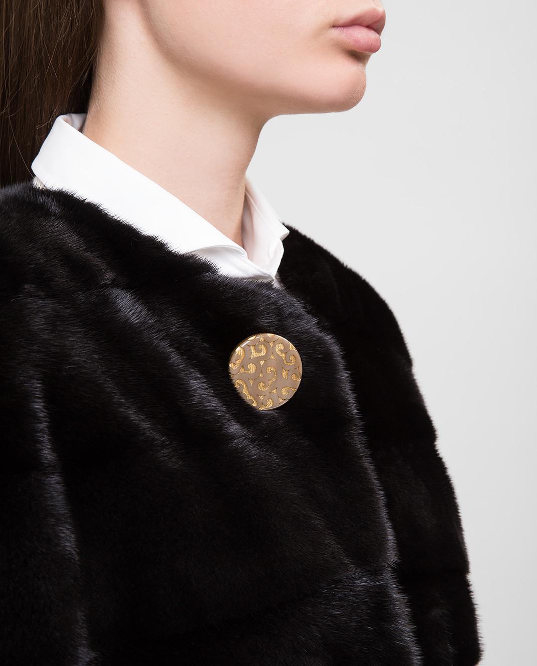 Real Furs House Черное меховое пальто TB923 изображение 5