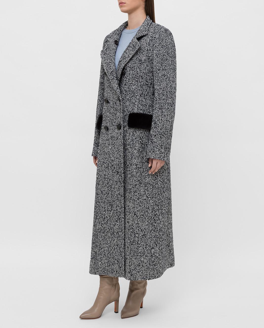Heresis Темно-синее пальто с мехом норки C07130SLIMPVI изображение 3