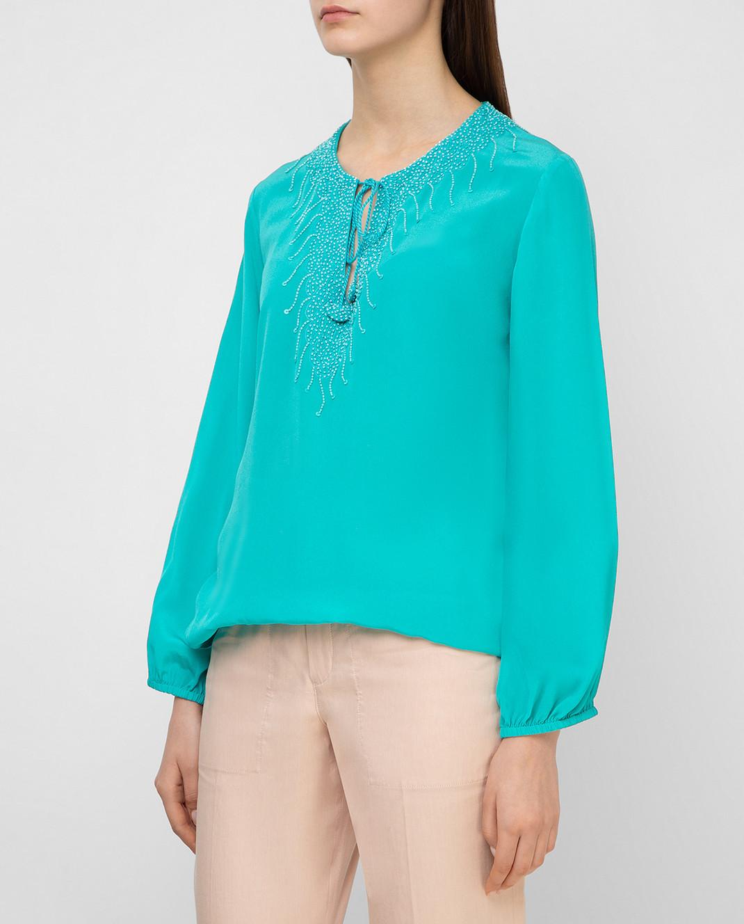 Taj by Sabrina Бирюзовая блуза из шелка SUSH1087 изображение 3