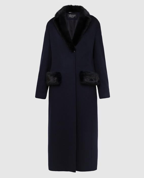 Темно-синее пальто из шерсти с воротником из меха норки