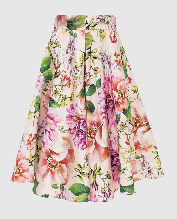 Пудровая юбка из шелка