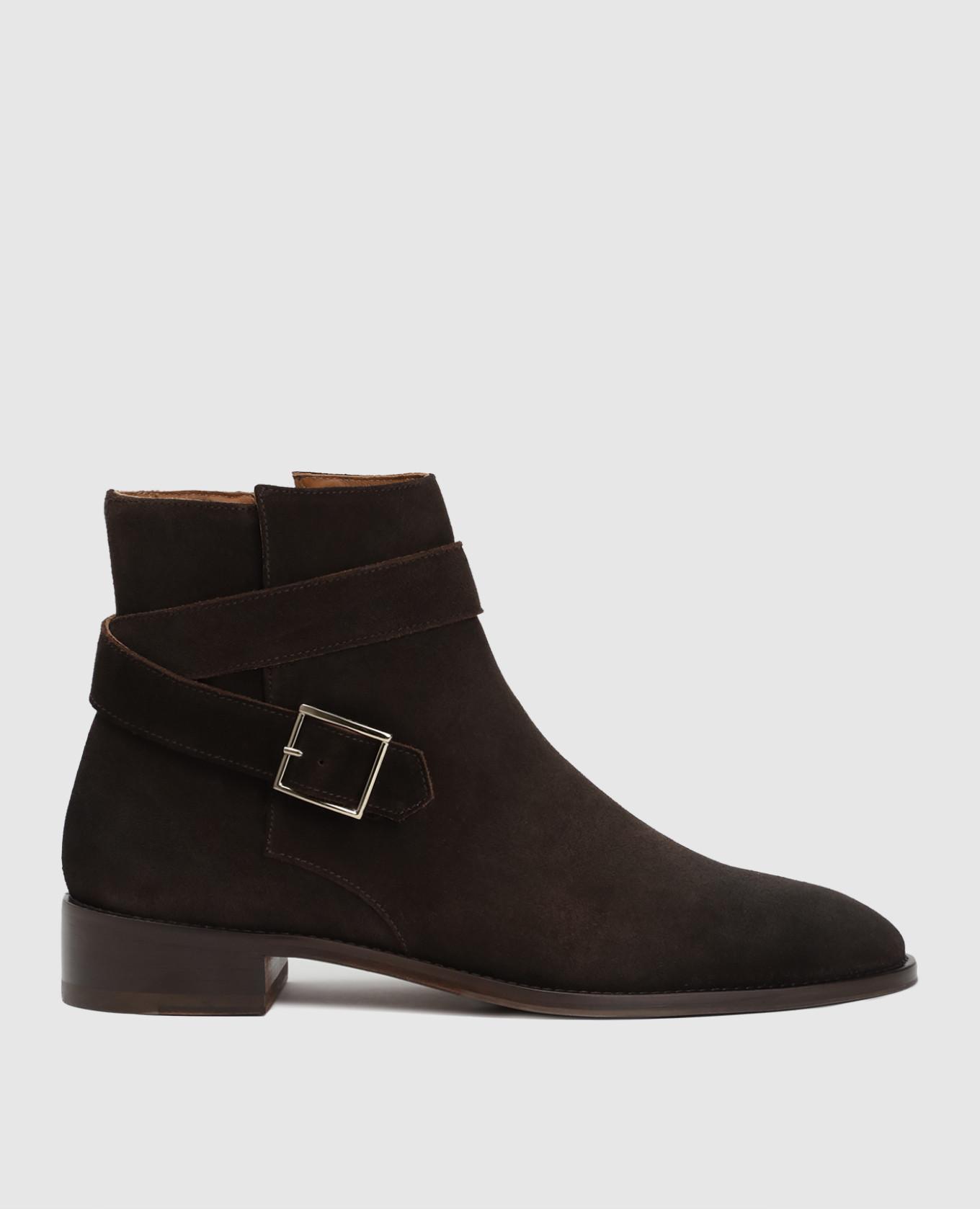 Коричневые замшевые ботинки