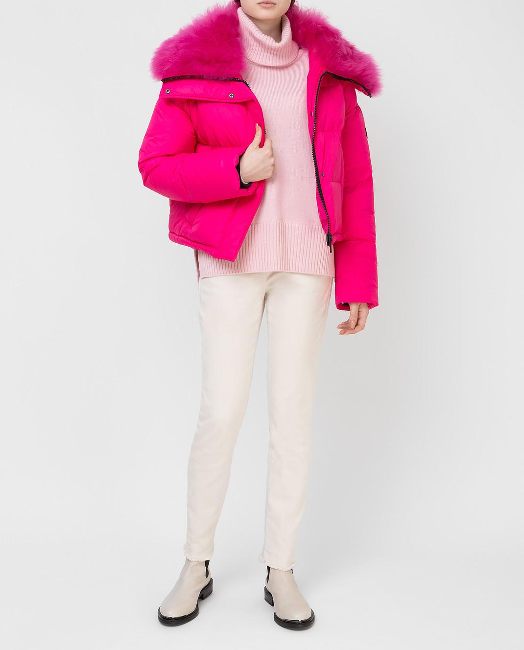 Yves Salomon Army Розовый пуховик с мехом ягненка изображение 2