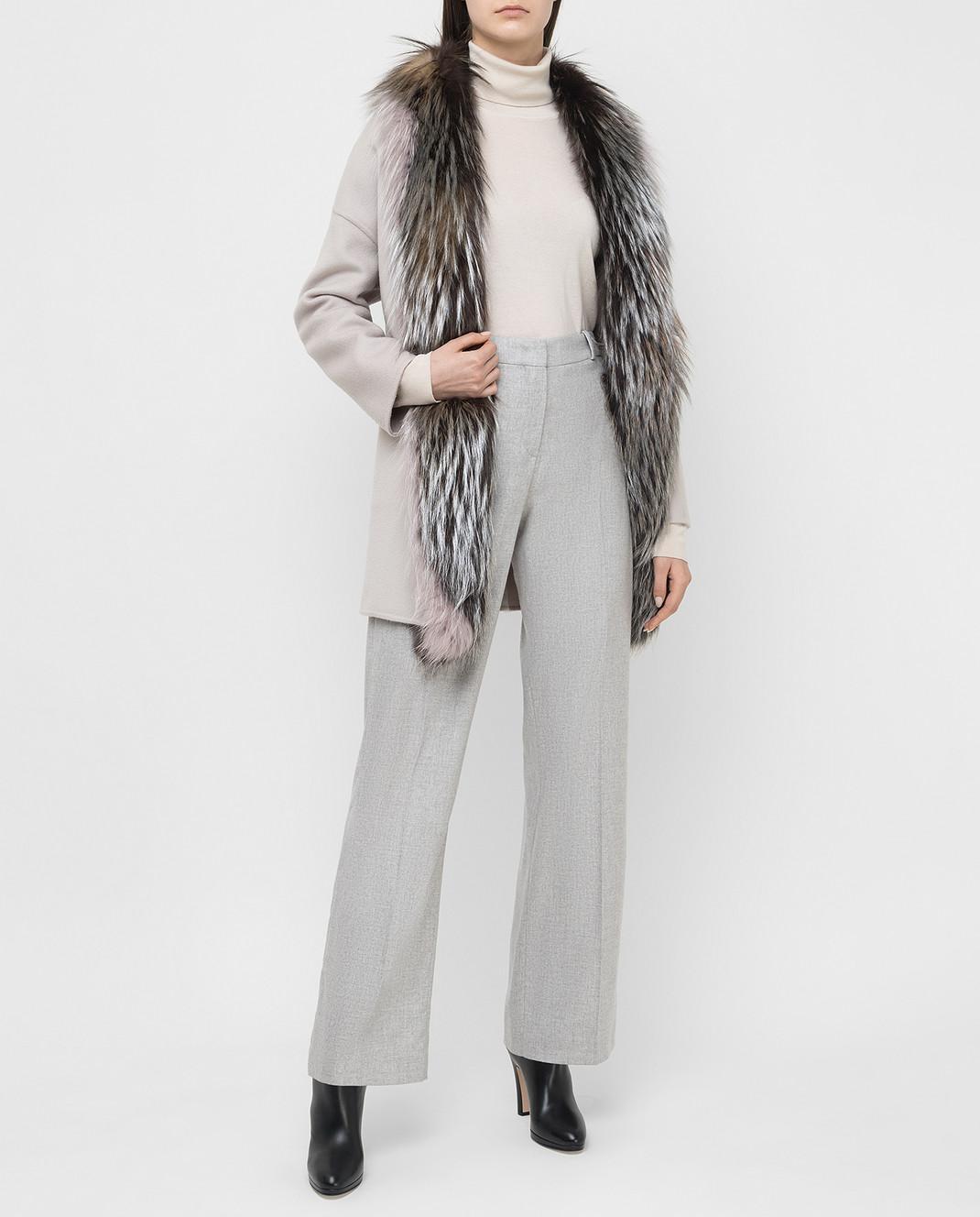 Rindi Серое пальто из кашемира с мехом лисы 298TE017 изображение 2