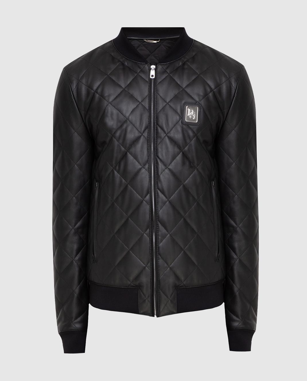 Dolce&Gabbana Черный кожаный бомбер изображение 1