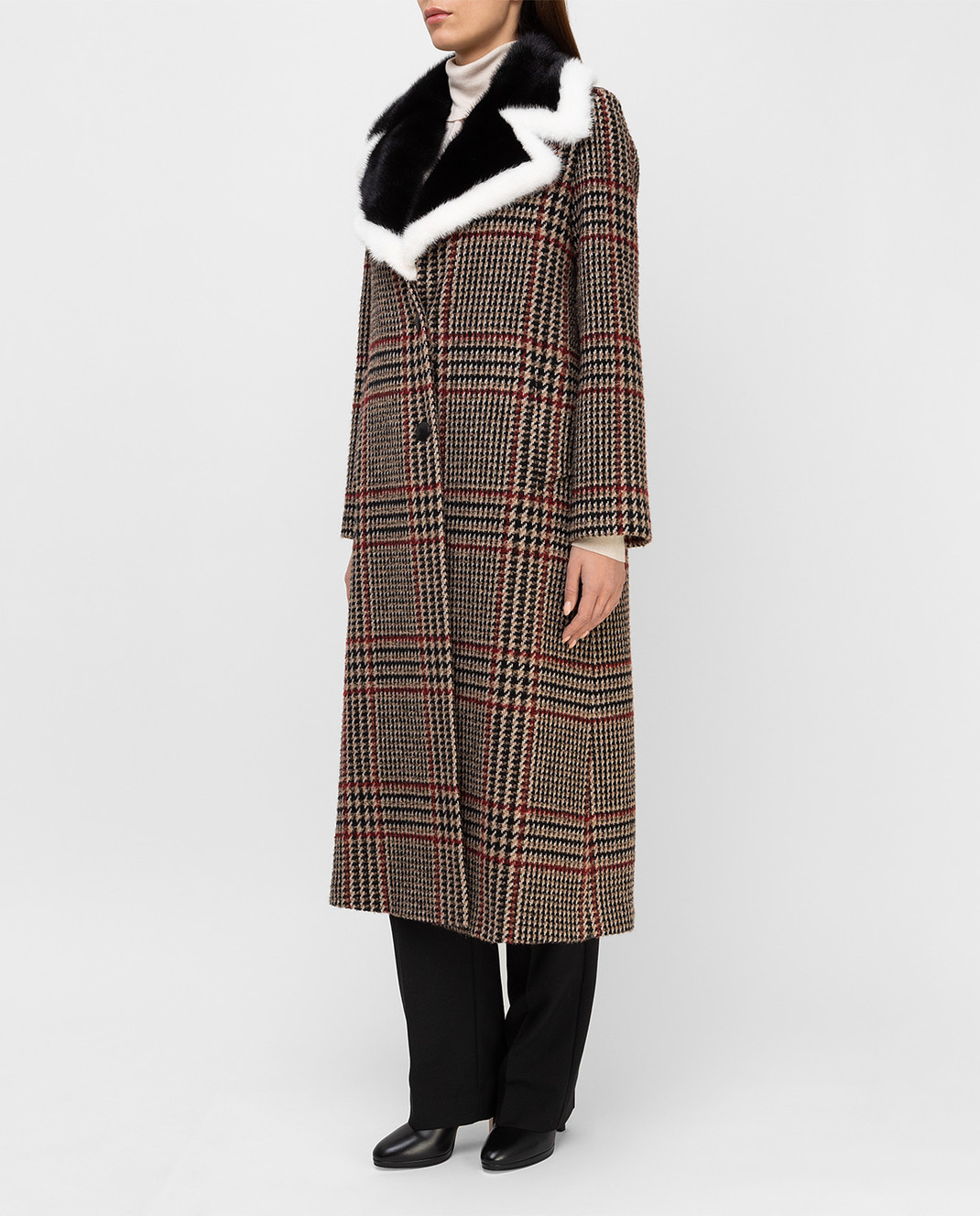 Simonetta Ravizza Бежевое пальто с мехом норки AZZURRA3 изображение 3