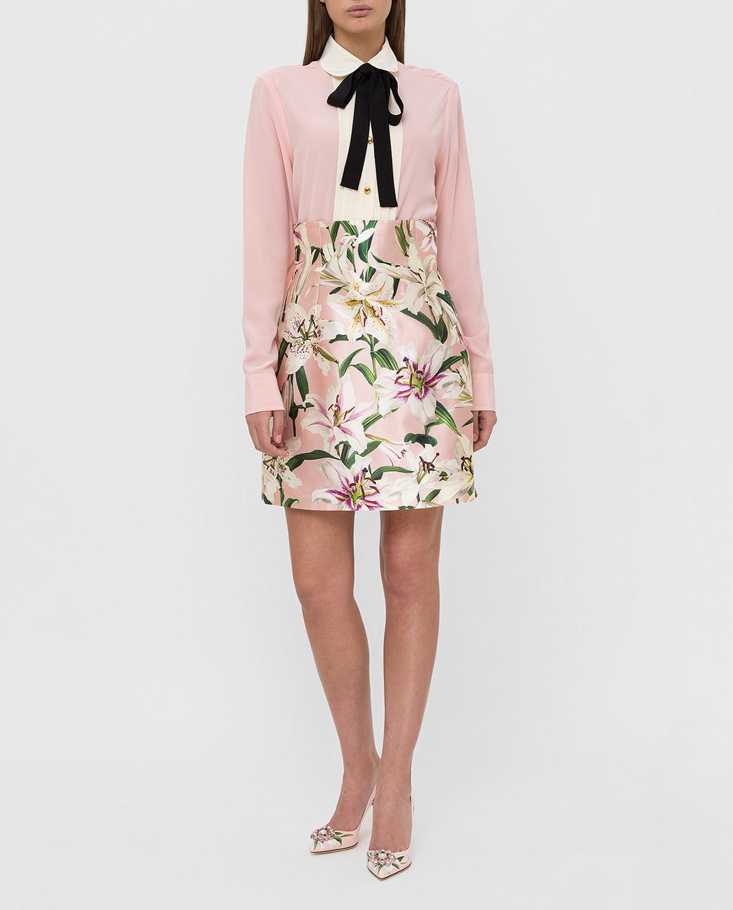 Dolce&Gabbana Розовая юбка из шелка изображение 2