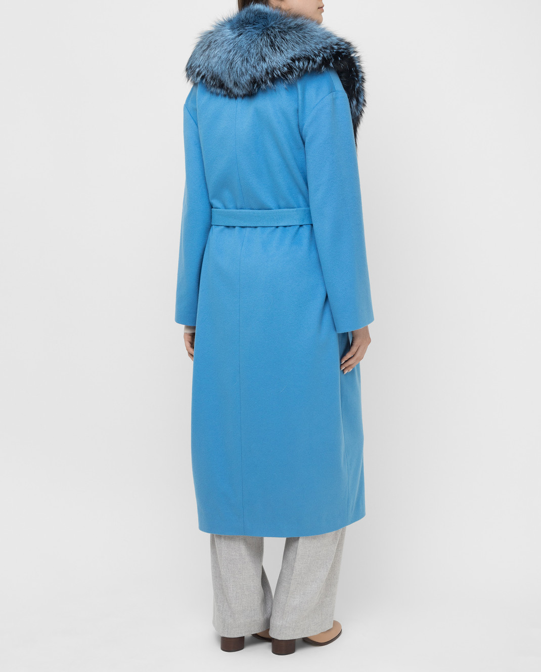 Via Cappella Голубое пальто из кашемира с мехом лисы C171418CASHMIR изображение 4