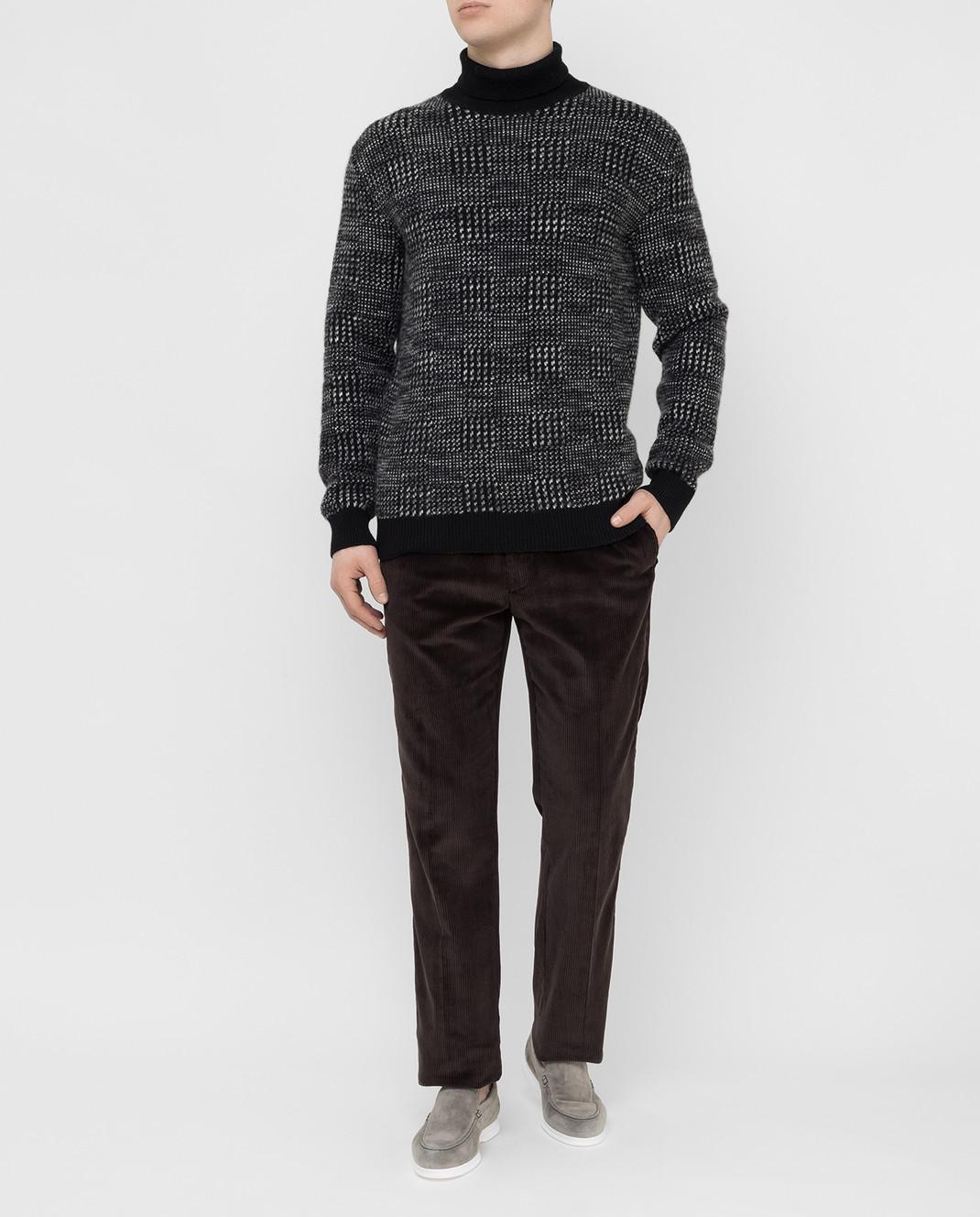 Ermenegildo Zegna Черный свитер из кашемира и шелка URH85120 изображение 2