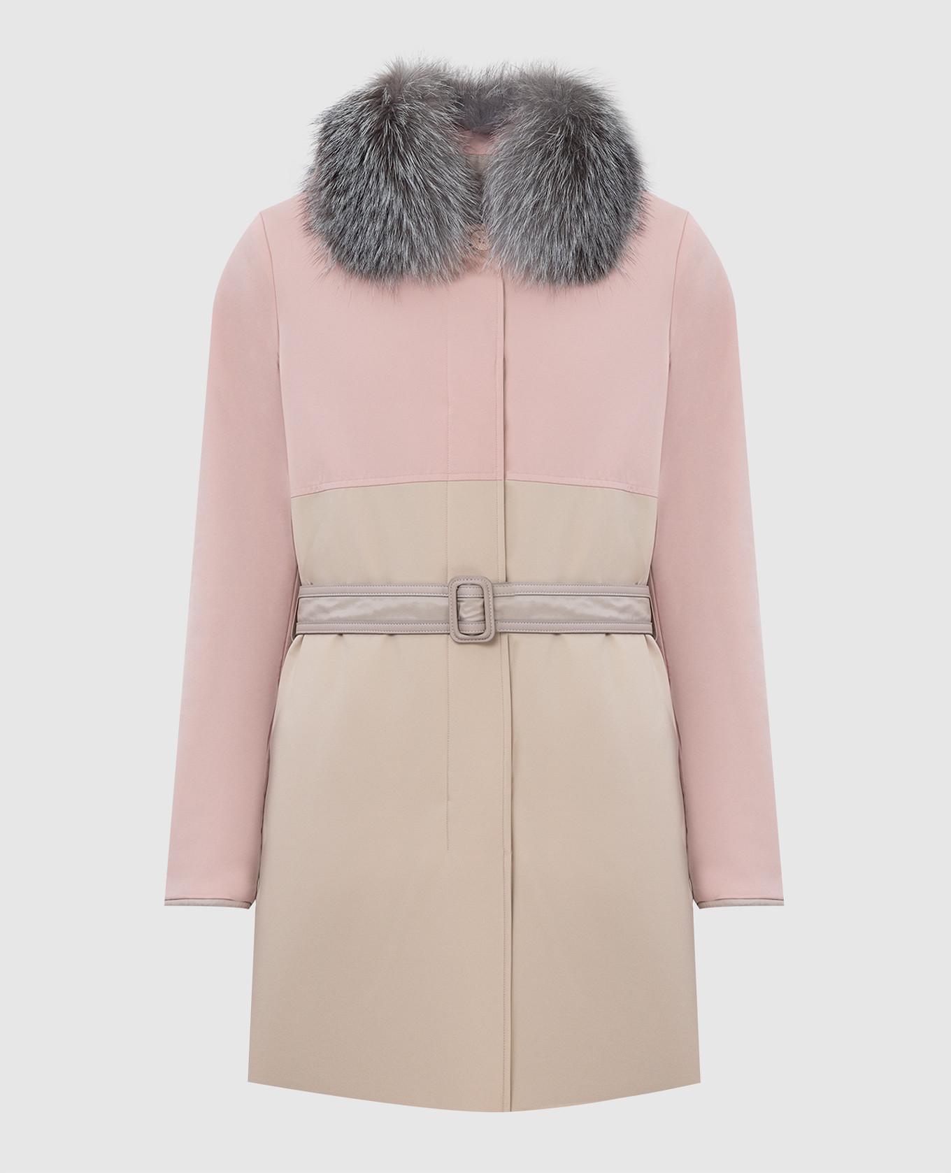 Двусторонняя куртка с воротником из меха лисицы
