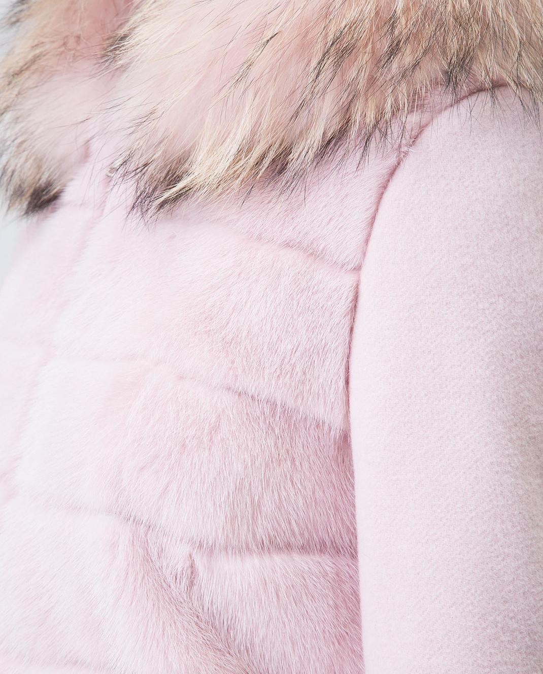 Real Furs House Розовое пальто с мехом енота 922RFH изображение 5