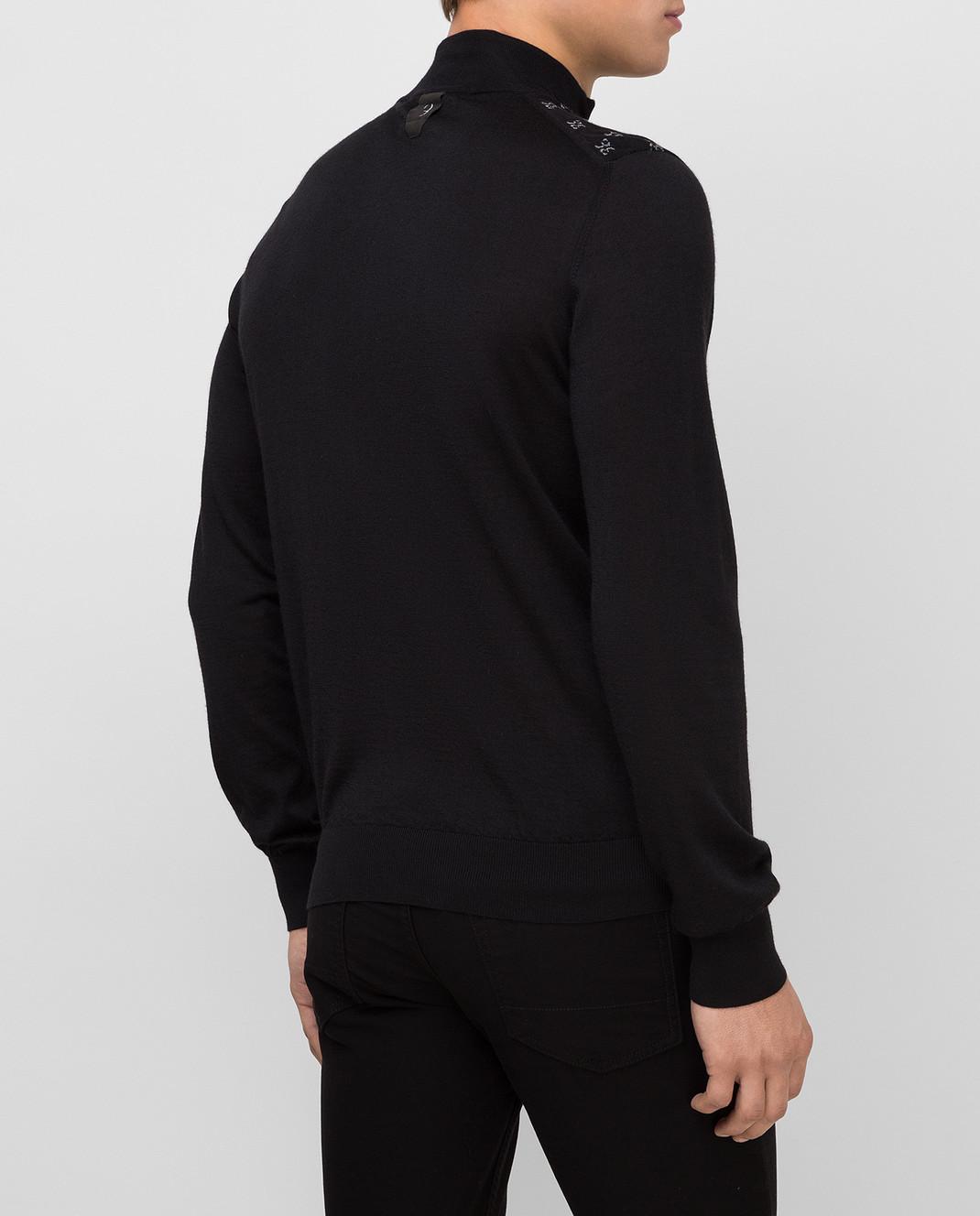 Billionaire Черное поло из шерсти, шелка и кашемира изображение 4