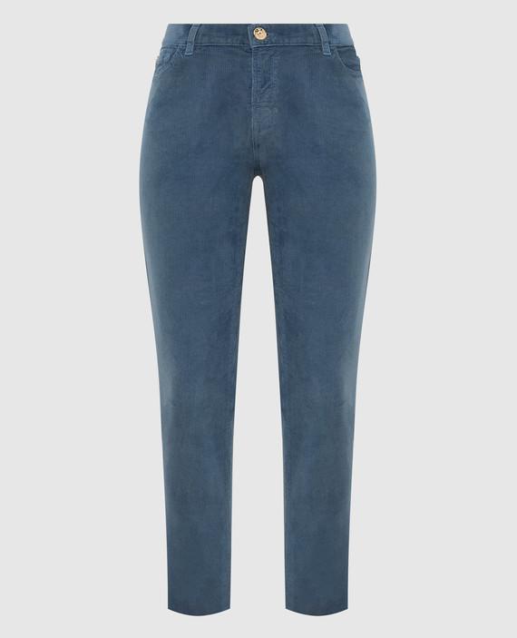 Синие вельветовые джинсы