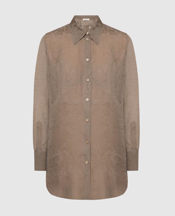 Темно-бежевая блуза из шелка